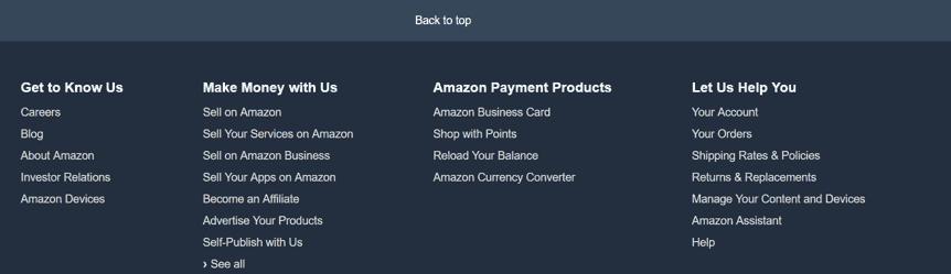 亞馬遜網頁下方提供各種協助的快速連結。