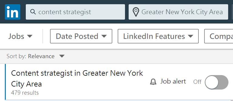 「內容策略師」在紐約有將近 500 個相關職缺(From LinkedIn)